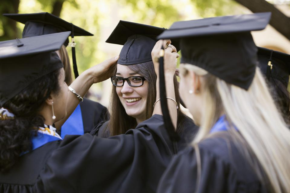 College graduates preparing for graduation