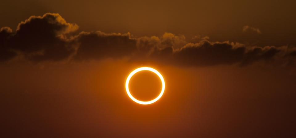 A ″ring of fire″ during an annular solar eclipse.