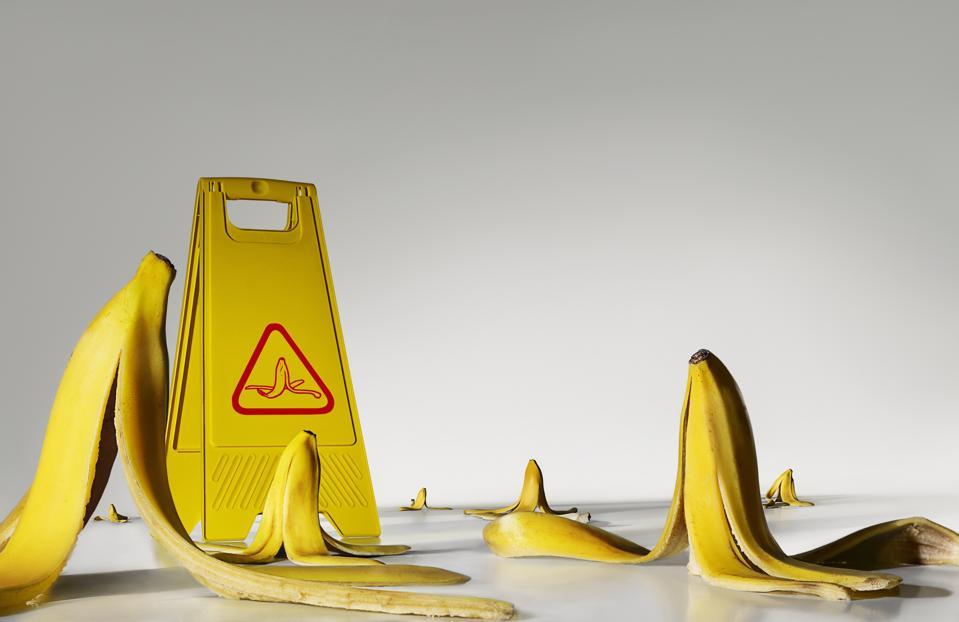Banana peels on the floor