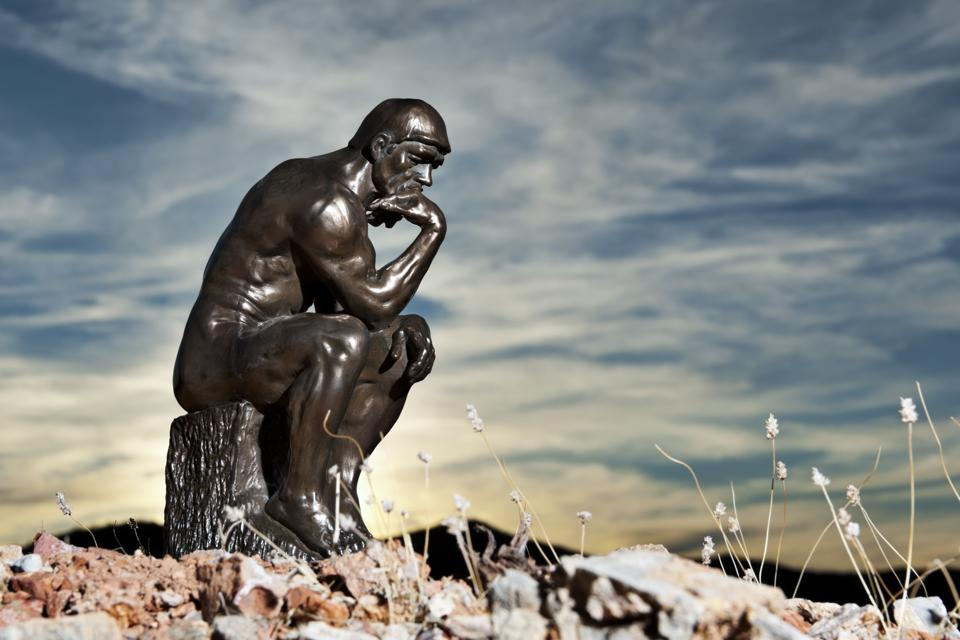 Rodin's The Thinker at Sunset