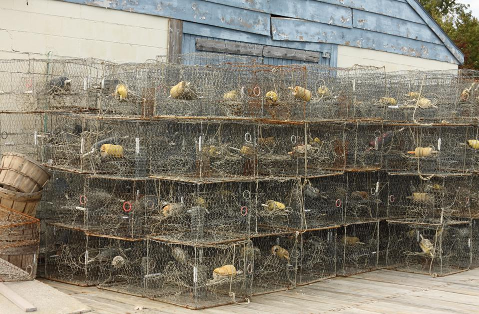Crab Pots Stacked For The Season