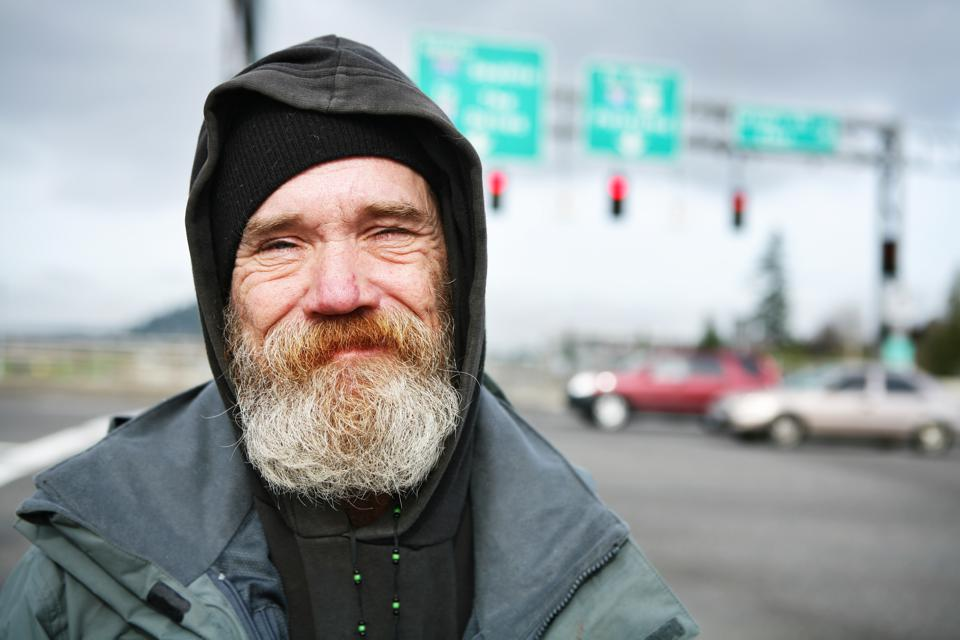 Up Close Photo of a Homeless Man
