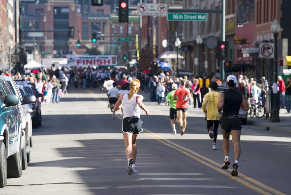 City running race with finish line in sight