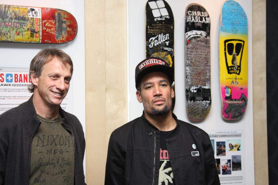 Tony Hawk with musician Ben Harper at The GRAMMY Museum.