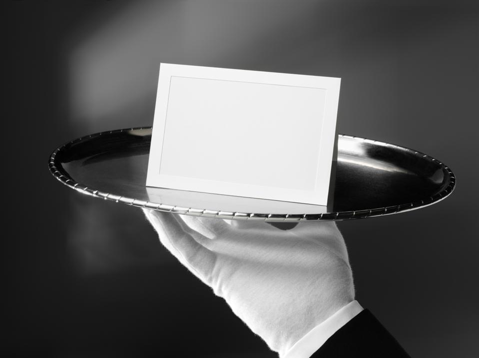 Blank Card on a Silver Tray