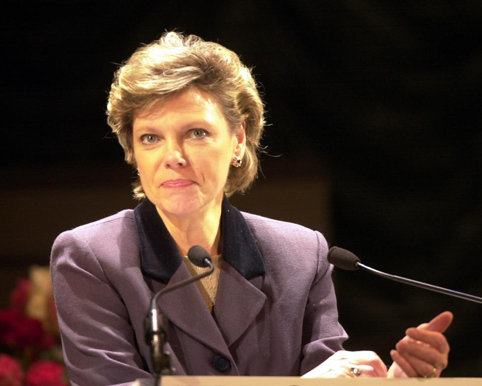 COKIE ROBERTS makes a speech at the Buell Theatre