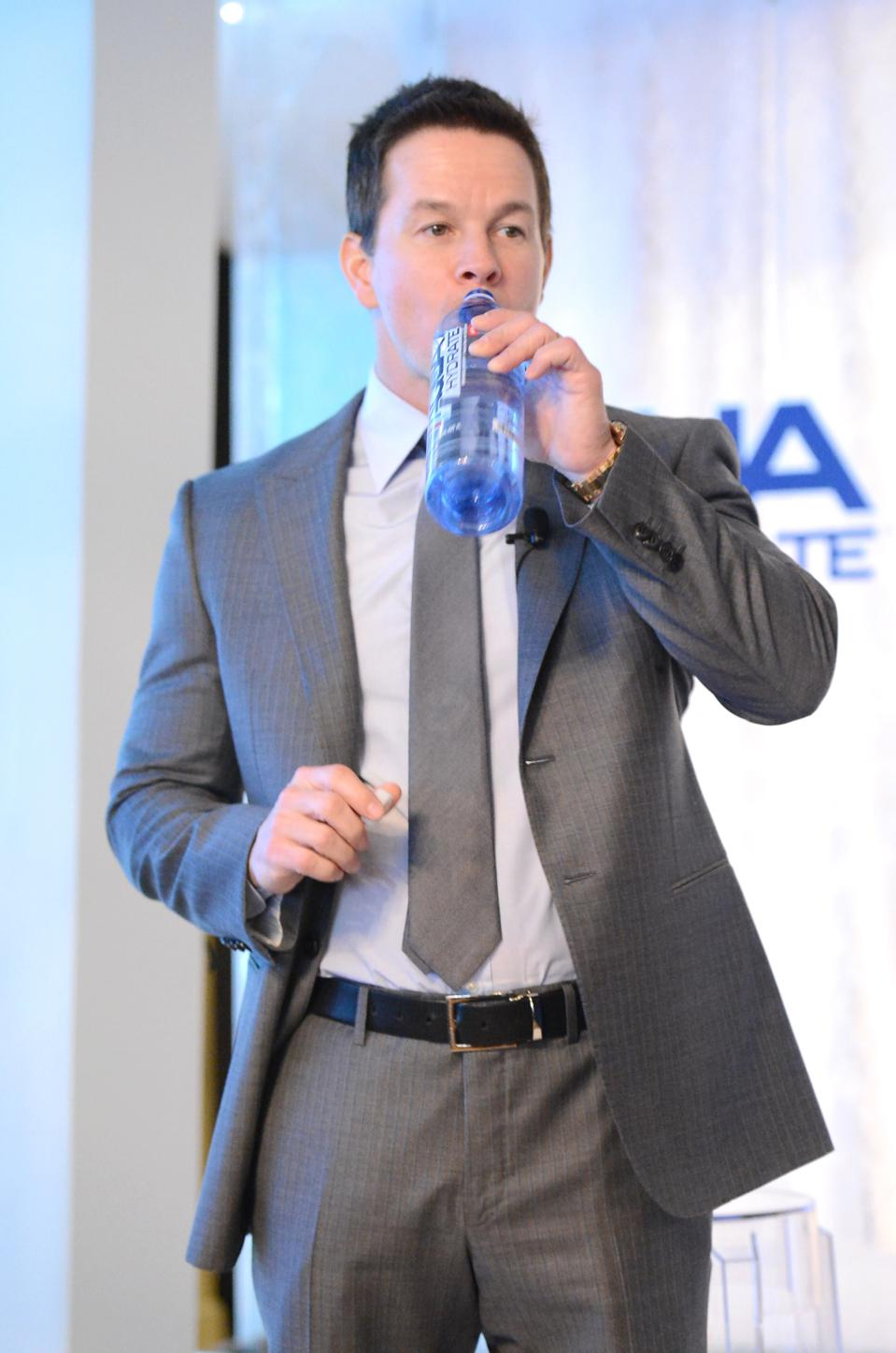 Sean ″Diddy″ Combs And Mark Wahlberg Host Press Conference To Announce Their Newest Venture, Water Brand AQUAhydrate