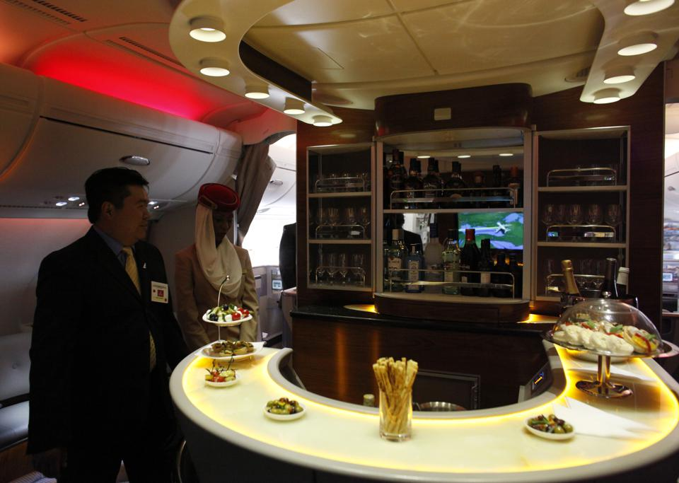June 1, 2009 - The bar/lounge is seen aboard the Emirates Airbus A380 which arrived at Pearson Inter