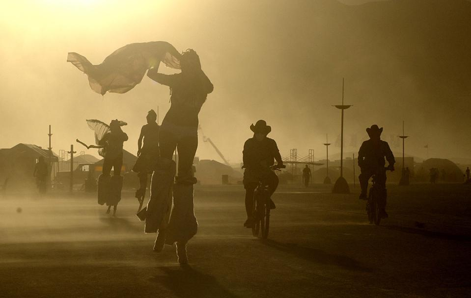 BURNING MAN -- 08/28/05 -- BLACK ROCK DESERT, NV -- An day-long windstorm whips sand as fine as talc