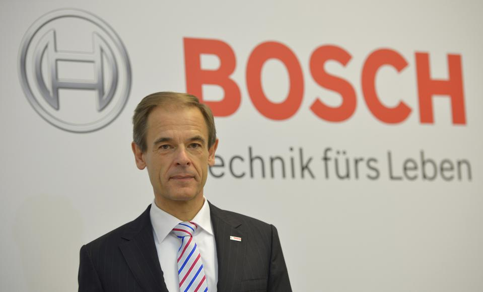 Volkmar Denner, CEO of German car supplier Robert Bosch GmbH, poses prior to the annual press conference at the Bosch headquarters in Gerlingen near Stuttgart, Germany, on April 18, 2013. (Photo credit: THOMAS KIENZLE/AFP/Getty Images)