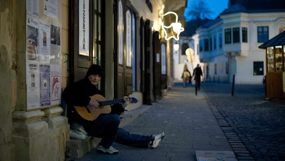 Street musician in Szekesfehervar, Hungary