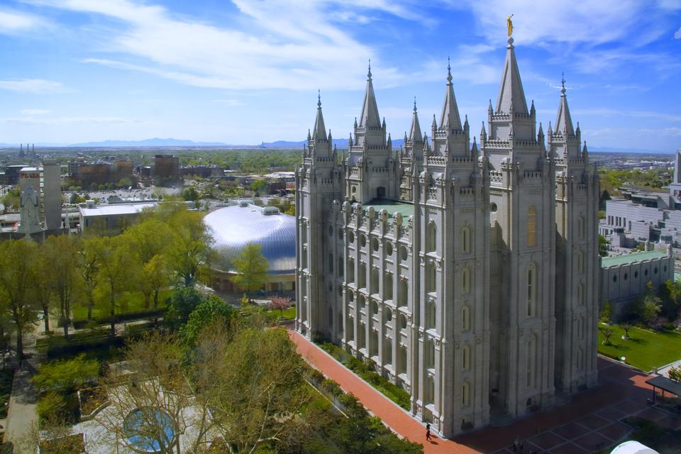 Aerial view of the historic Mormon Temple Square in downtown Salt Lake City, UT.