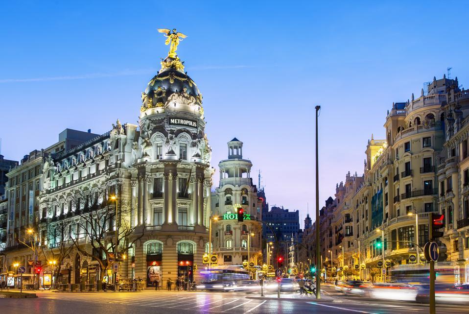 Madrid, Metropolis Building at Night
