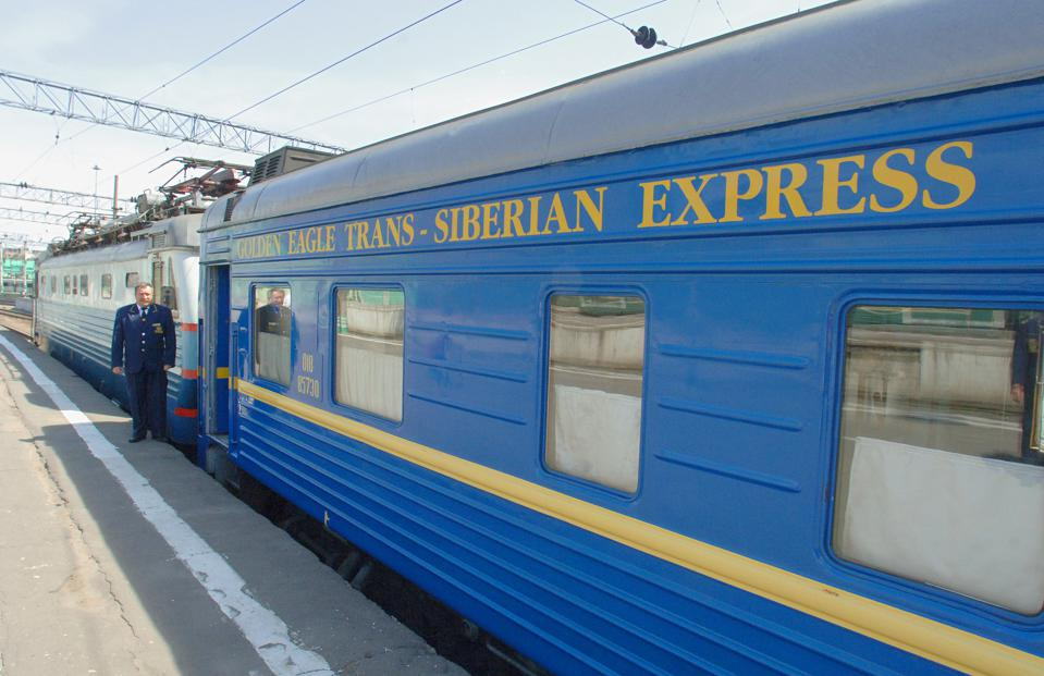 Moscow, russia, june 4, 2007, the new $25 million fully en-suite golden eagle express (in pic,) has been launched by long-distance luxury train operator gw travel limited to serve the world's longest railway line between moscow and vladivostok.