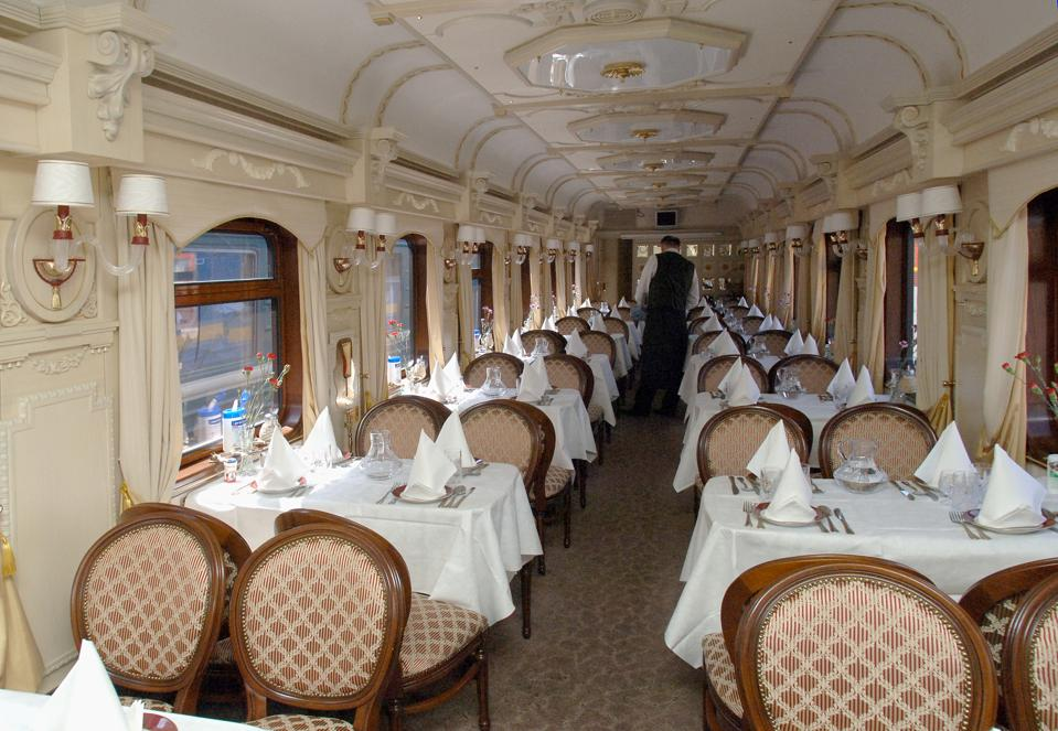 Moscow, russia, june 4, 2007, inside the dining car of the golden eagle express, the new $25 million fully en-suite private train has been launched by long-distance luxury train operator gw travel limited to serve the world's longest railway line bet
