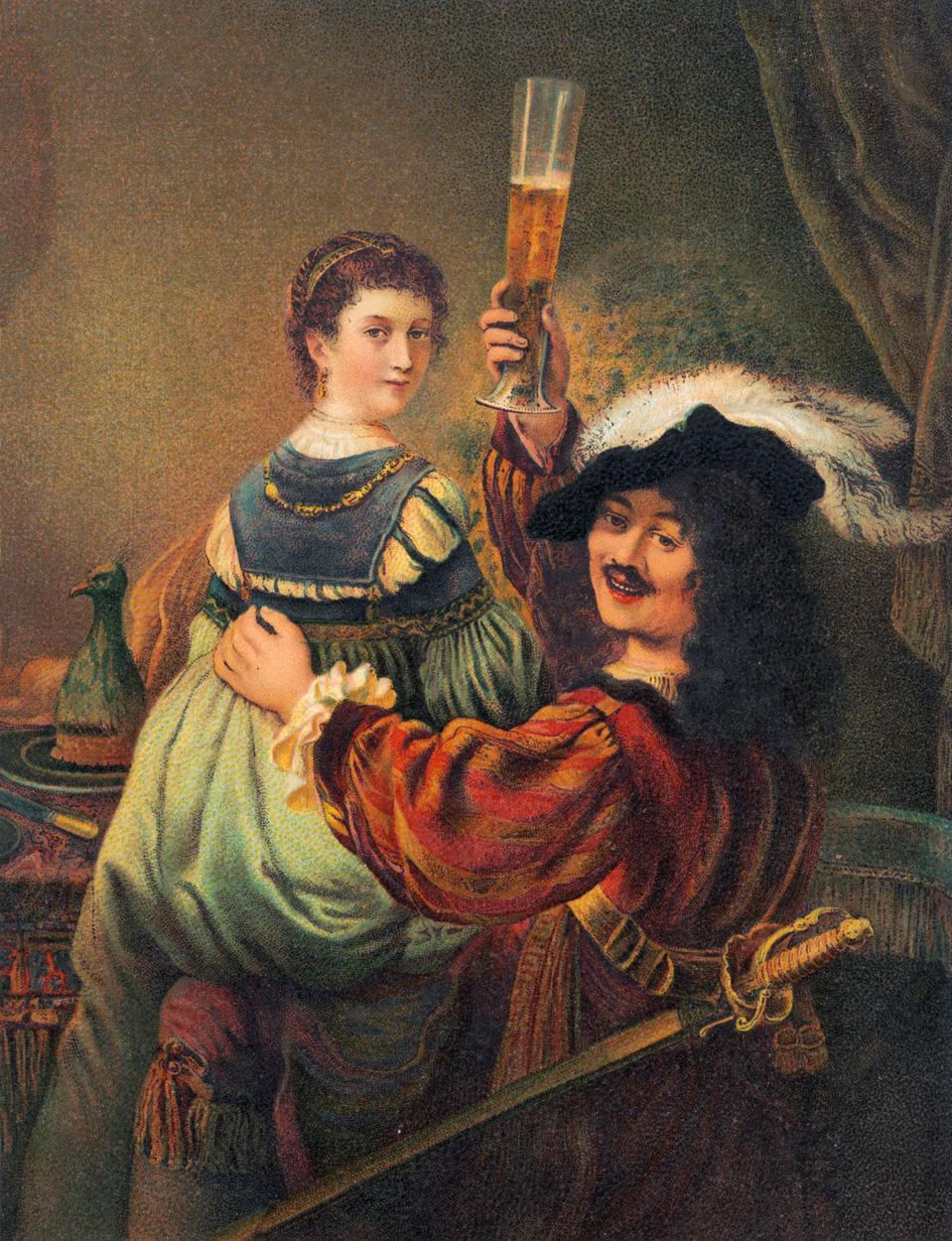 Rembrandt van Rijn - Self portrait with his wife Saskia.