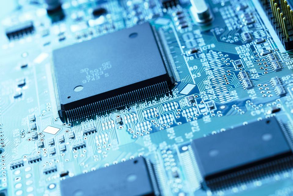 Close-up of computer chip software