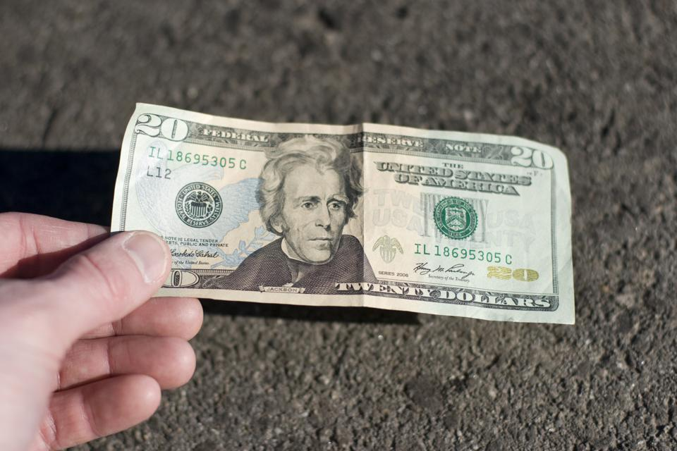 Find a 20$ bill on the street