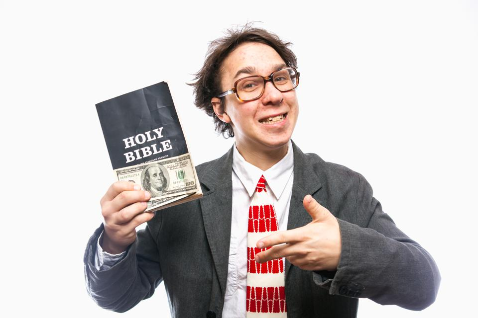 Funny Christian Church Goer Bible Man With American Hundred Bills