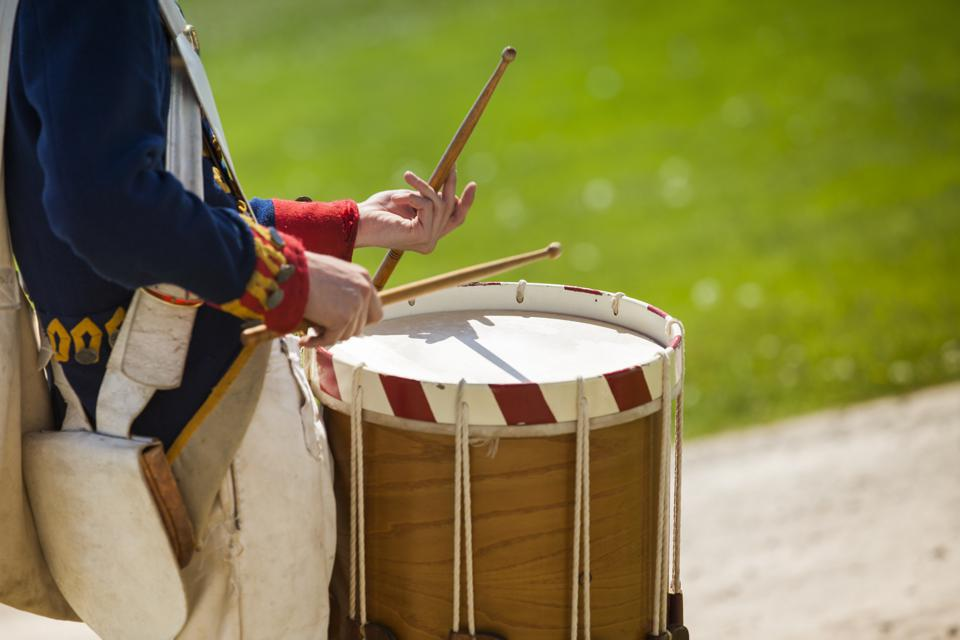 Drum on a parade re-enactment
