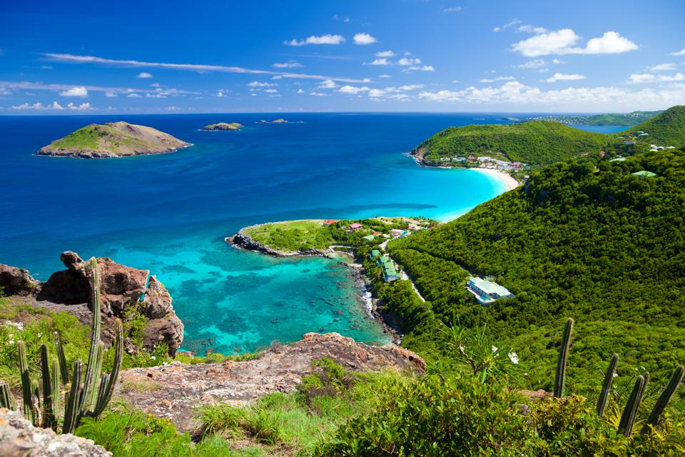 high angle view of Anse des Flamands in St.Barths, FWI