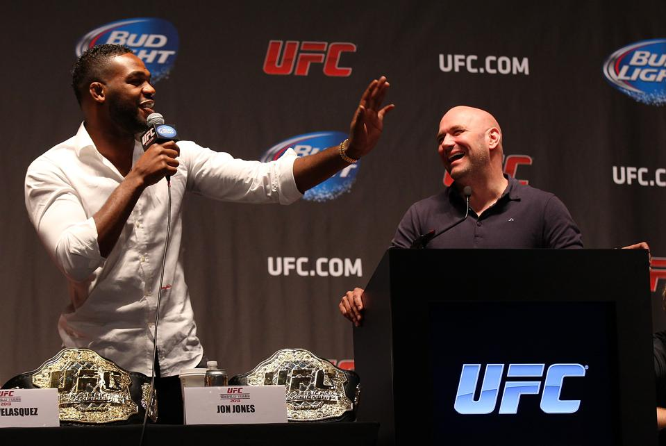 UFC light heavyweight champion Jon Jones and UFC president Dana White at a happier time