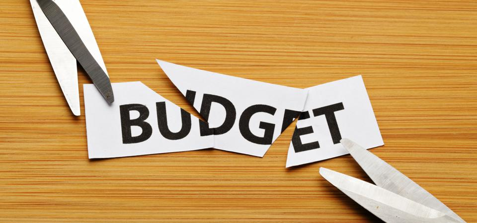 cutting budget with scissor on wooden background