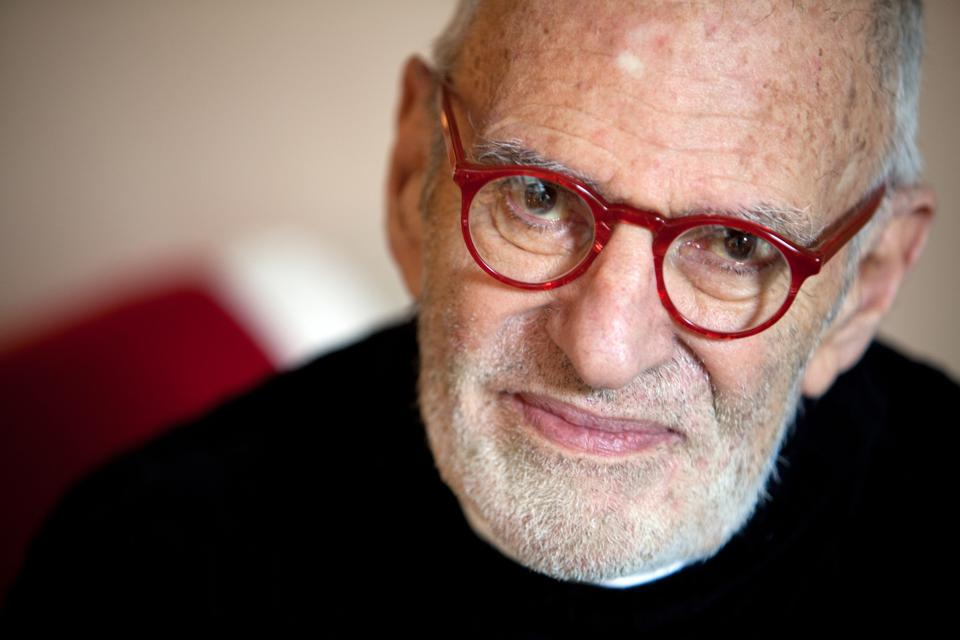 Playwright Larry Kramer in his apartment in Manhattan, NY.