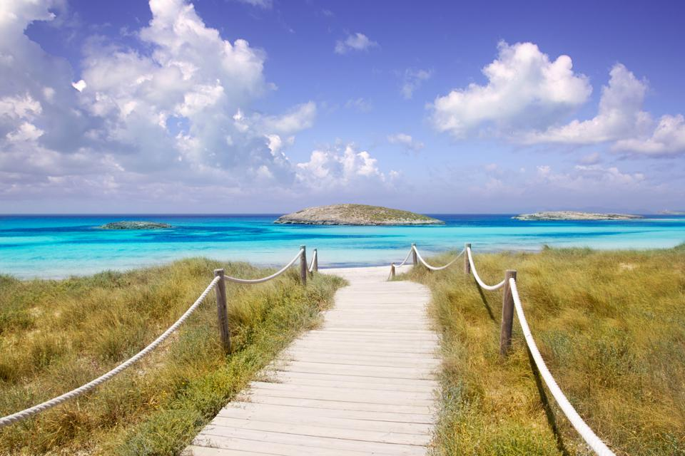 beach way to Illetas paradise in Formentera near Ibiza