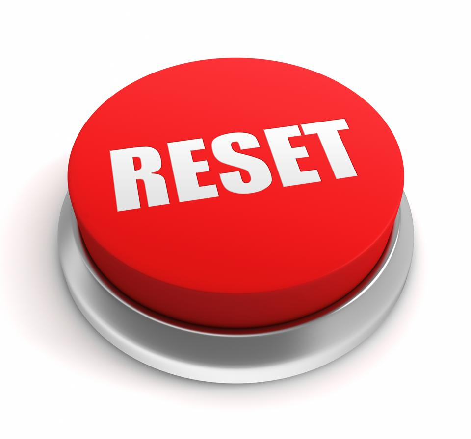 Three-dimensional graphic of a reset button