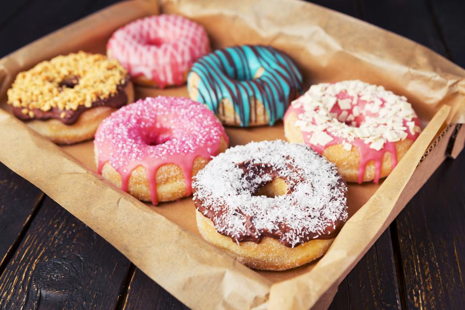 Fresh homemade donuts with various toppings