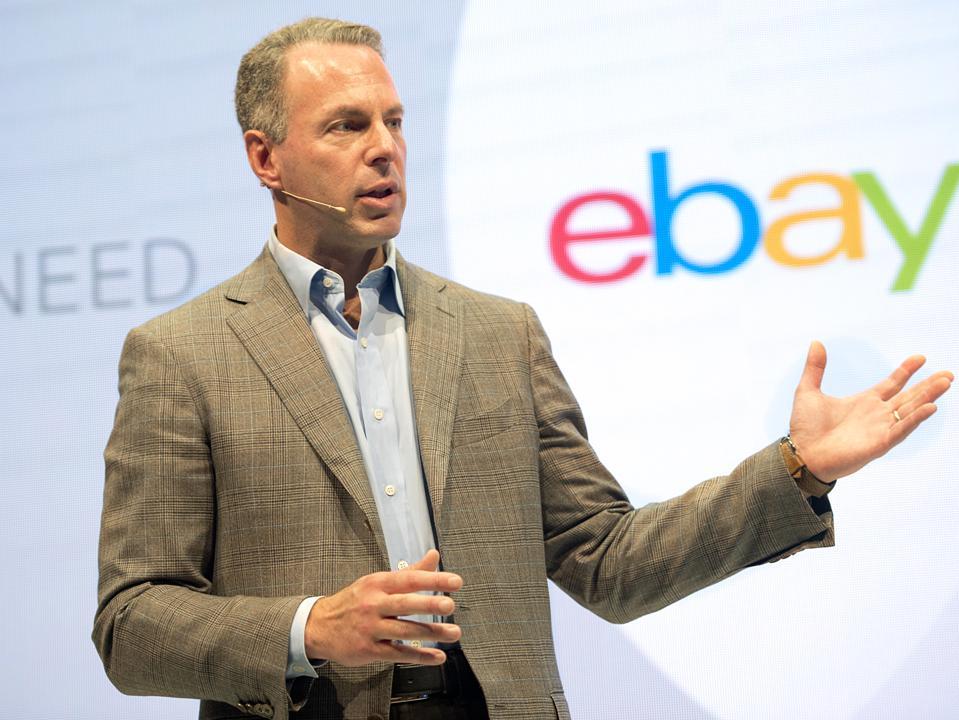 Online commerce giant eBay President Devin Wenig speaks during a press conference in Berlin.