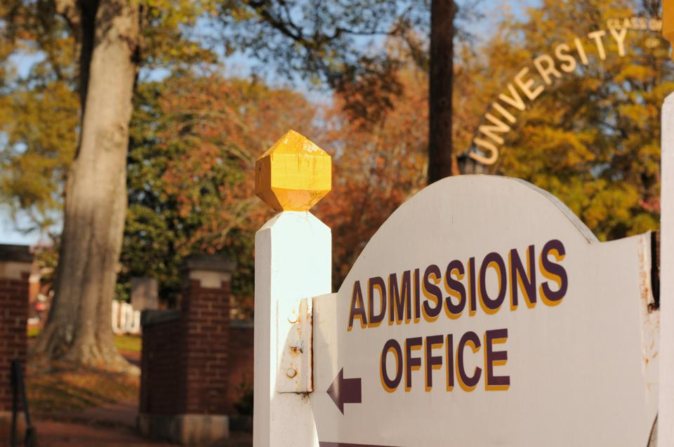 Admissions office sign at university