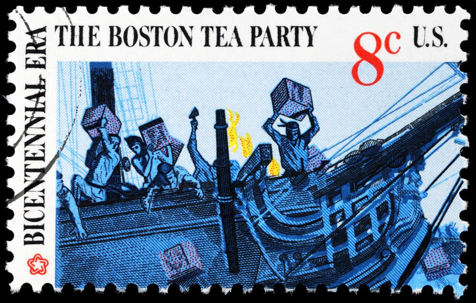 Cancelled postmarked stamp, Boston Tea Party