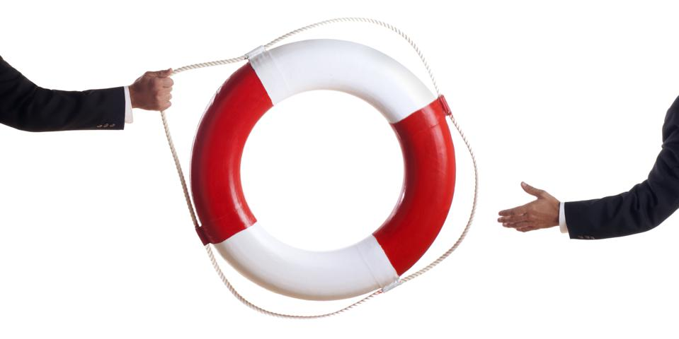 Business Man Tossing a Life Preserver