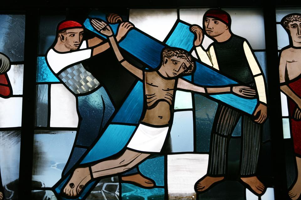 Church window jesus on cross