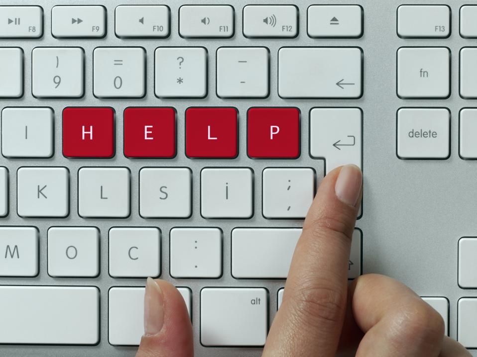 Help! keyboard message concept