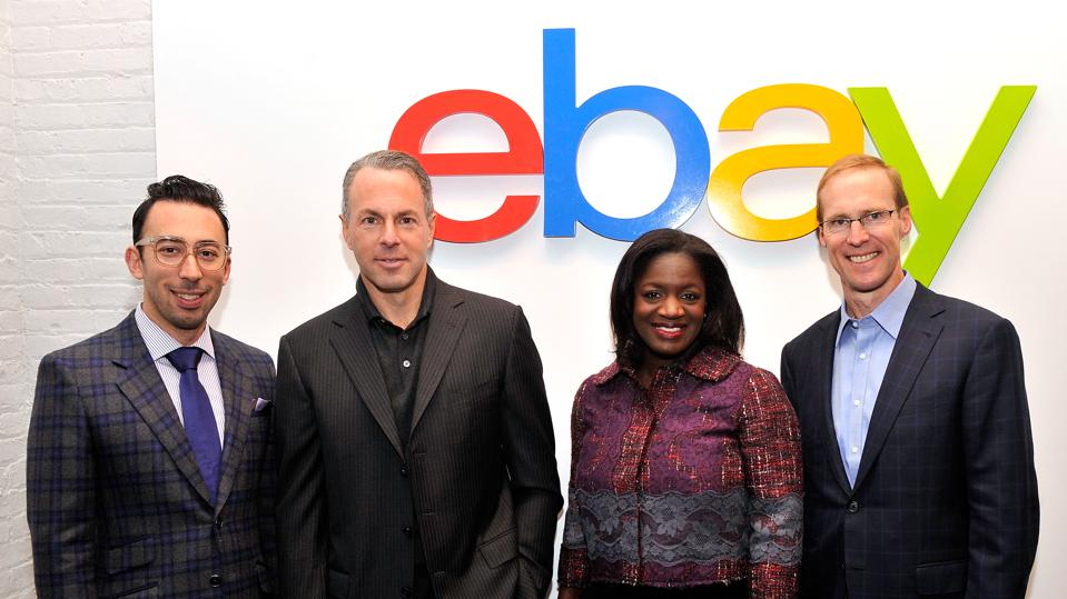eBay Chief Curator Michael Phillips Moskowitz, President Devin Wenig, Chief Marketing Officer Richelle Parham and Chief Technology Officer Mark Carges attend the launch of new features during its Future of Shopping event.