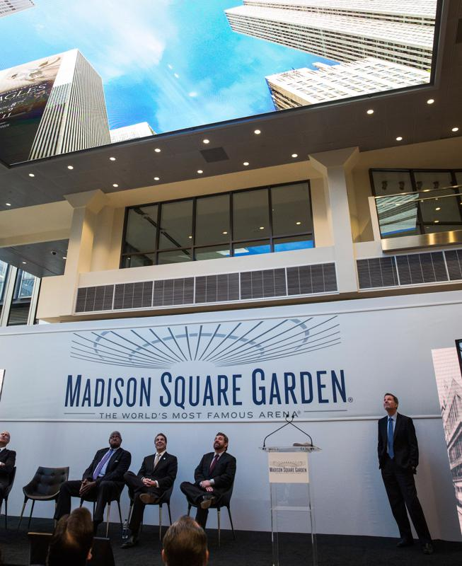 Announcing the completion of a face lift to Madison Square Garden in October 2013.