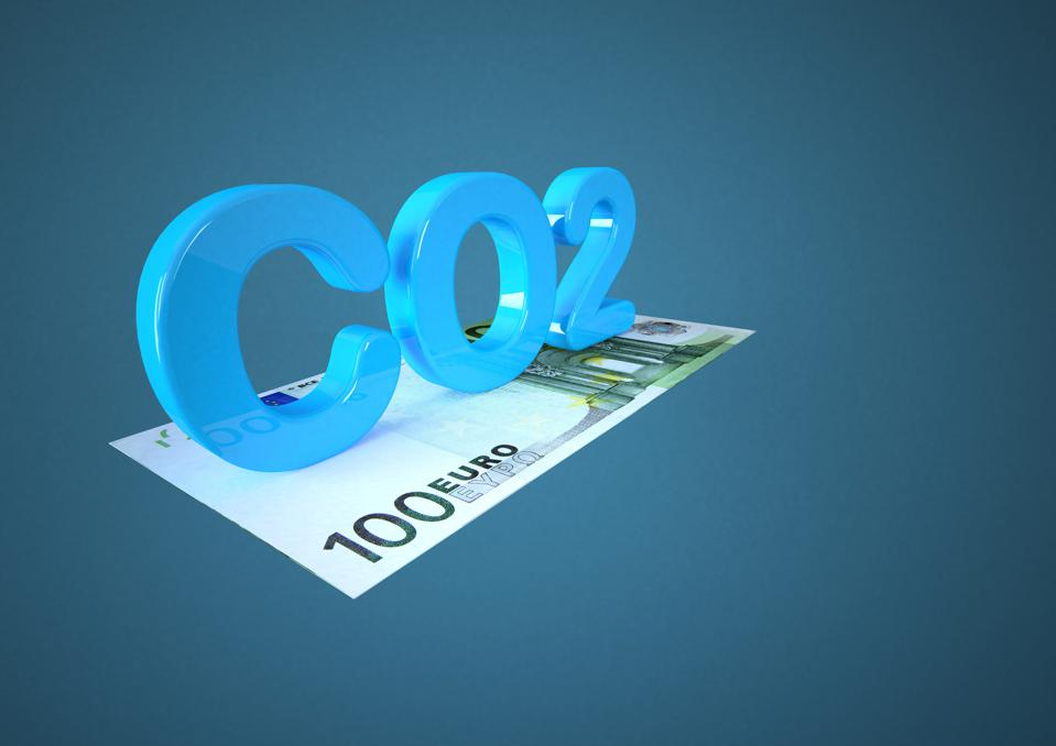 Illustration of Euro banknote with co2 symbol, close up