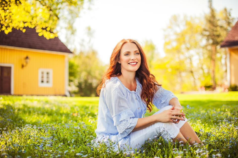 Beautiful redhead outdoors