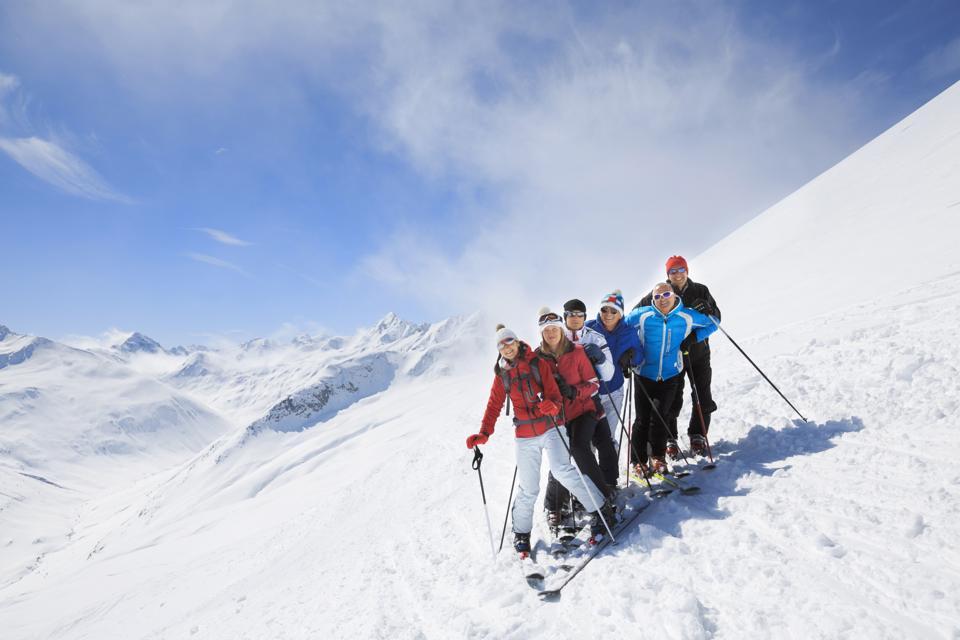 Snow skiing school class
