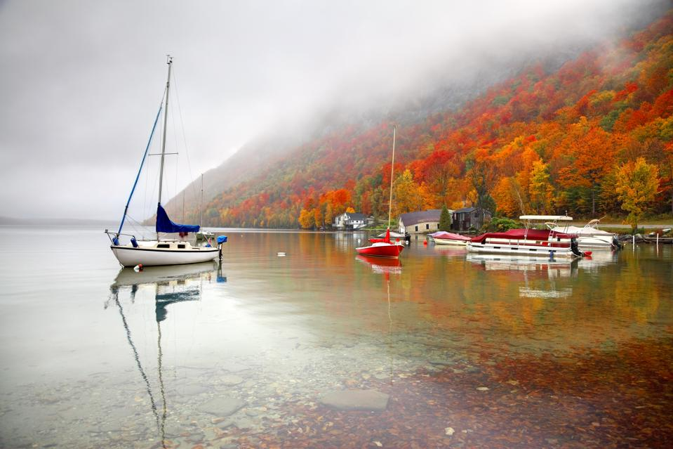 Foggy autumn morning on Lake Willoughby