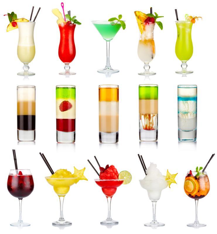 Set of alcoholic cocktails isolated on white