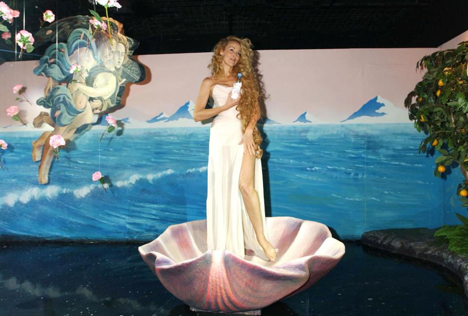 Jerry Hall Promotes Heaven By Evian At Selfridges In London