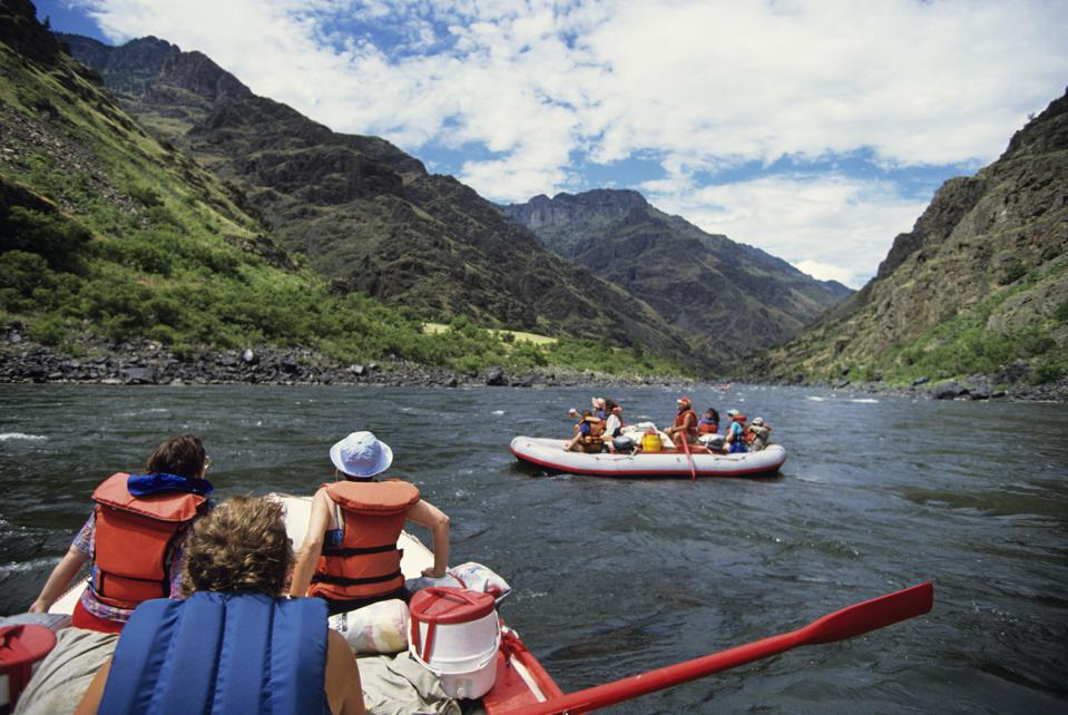 Groups of people rafting on Snake River, Idaho, USA