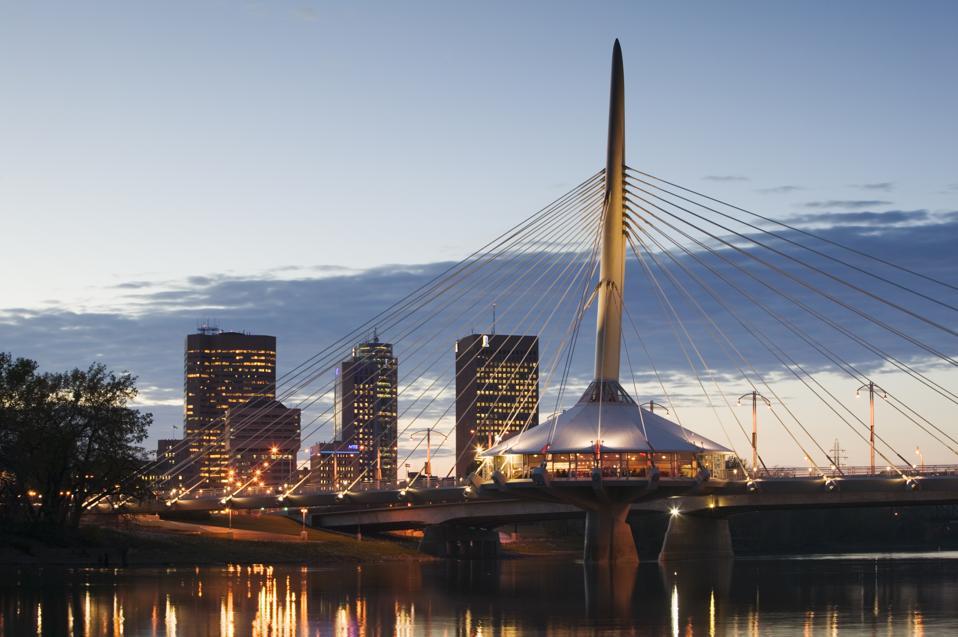 Canada, Manitoba, Winnipeg,  Esplanade Riel Pedestrian bridge