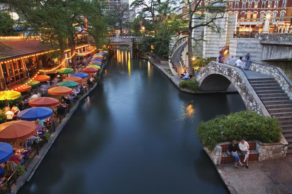 San Antonio River and River Walk at dusk