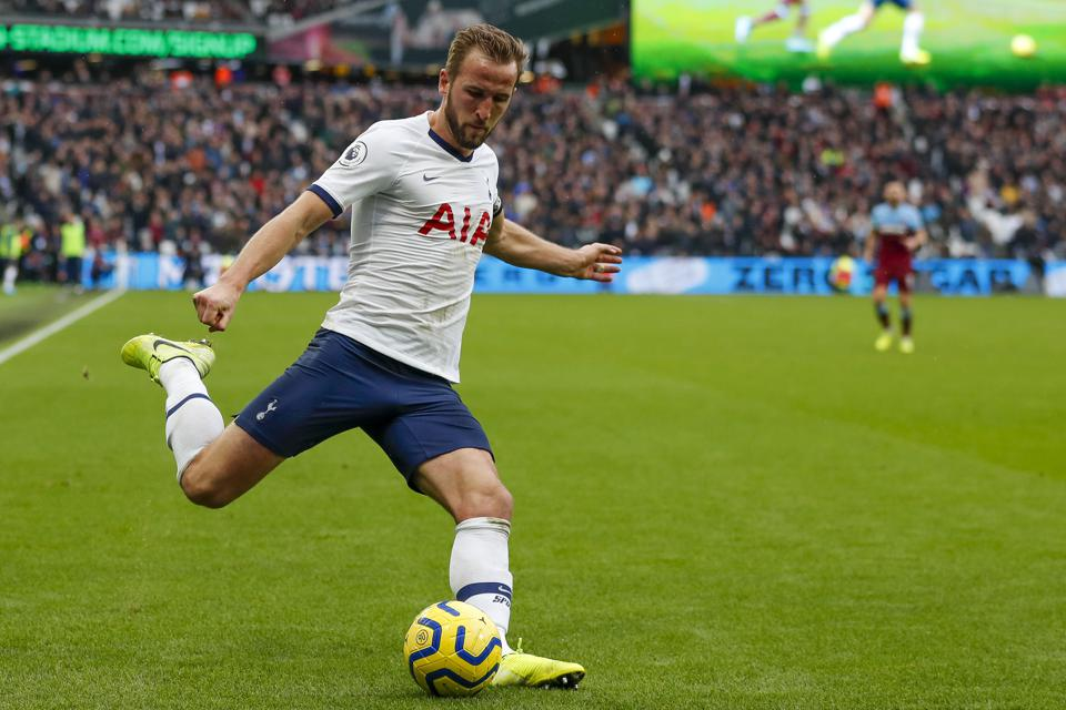 Tottenham's Harry Kane controls the ball during the Premier League soccer match between West Ham and Tottenham on November 23.
