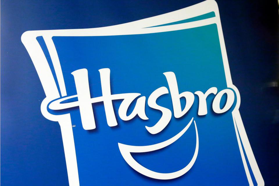 A photo of the blue-and-while Hasbro logo. (AP Photo/Richard Drew, File)